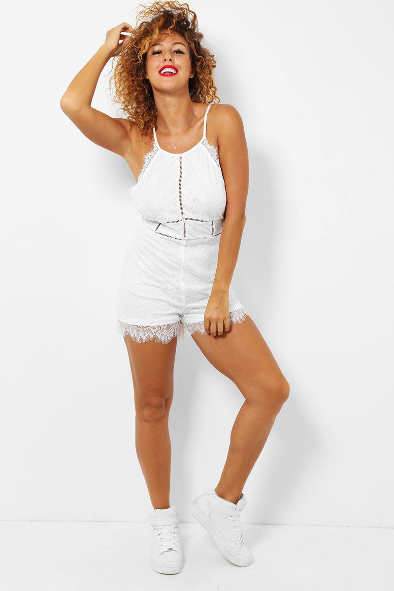 White Delicate Scallop Lace Cami Playsuit - SinglePrice