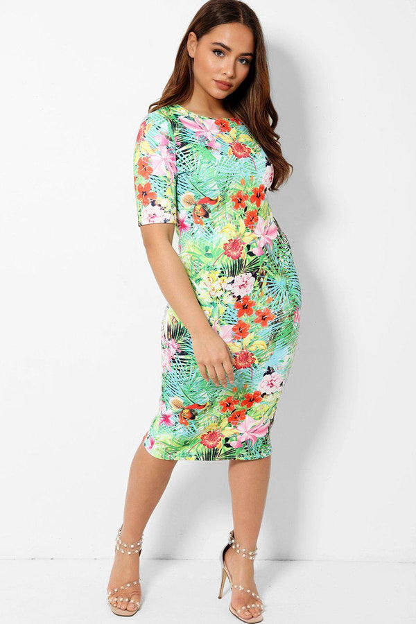 Tropical Floral Print Light Bodycon Dress - SinglePrice