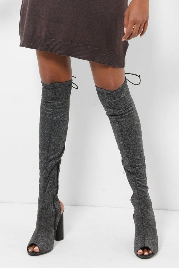 Drawstring Top Dark Grey Over The Knee Boots-SinglePrice