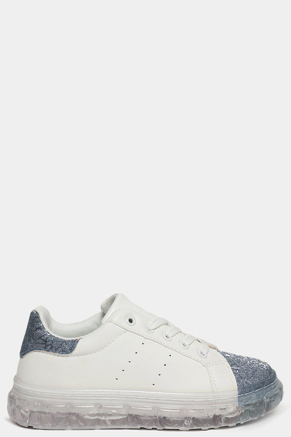 Gun Shimmer Web Effect White Transparent Sole Trainers - SinglePrice