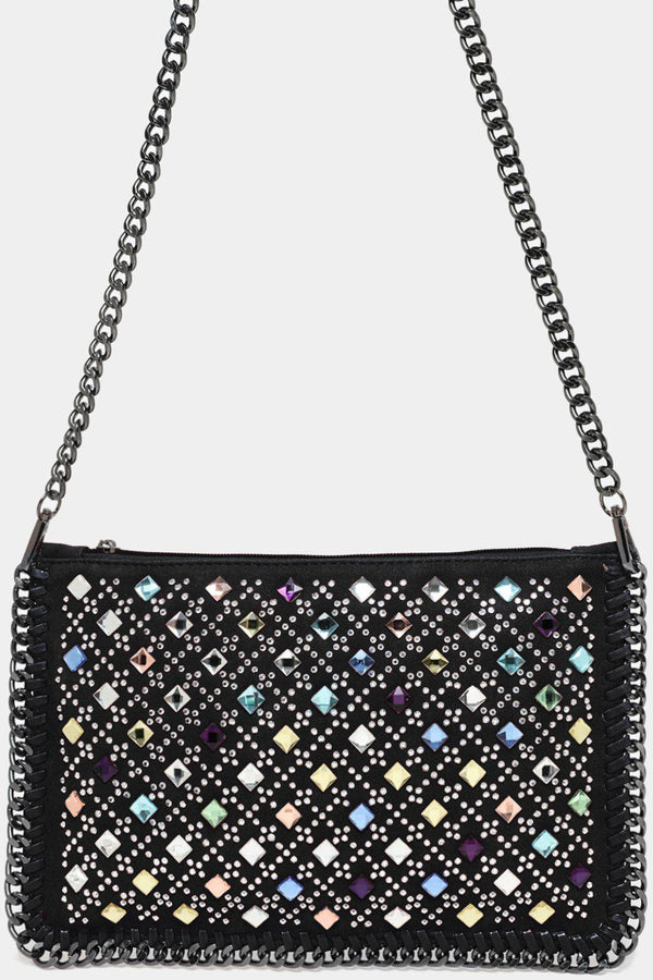 Black Crystals Embellished Front Two Textures Clutch Bag-SinglePrice