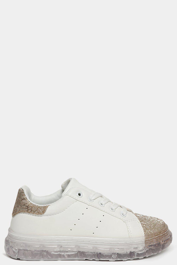 Gold Shimmer Web Effect White Transparent Sole Trainers - SinglePrice
