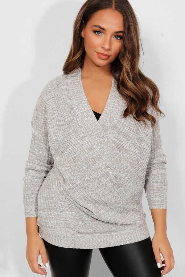 Grey Rib Knit Wrap Front Pullover