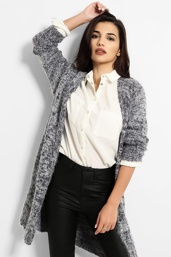 Navy Fluffy Boucle Knit Open Front Cardigan - SinglePrice