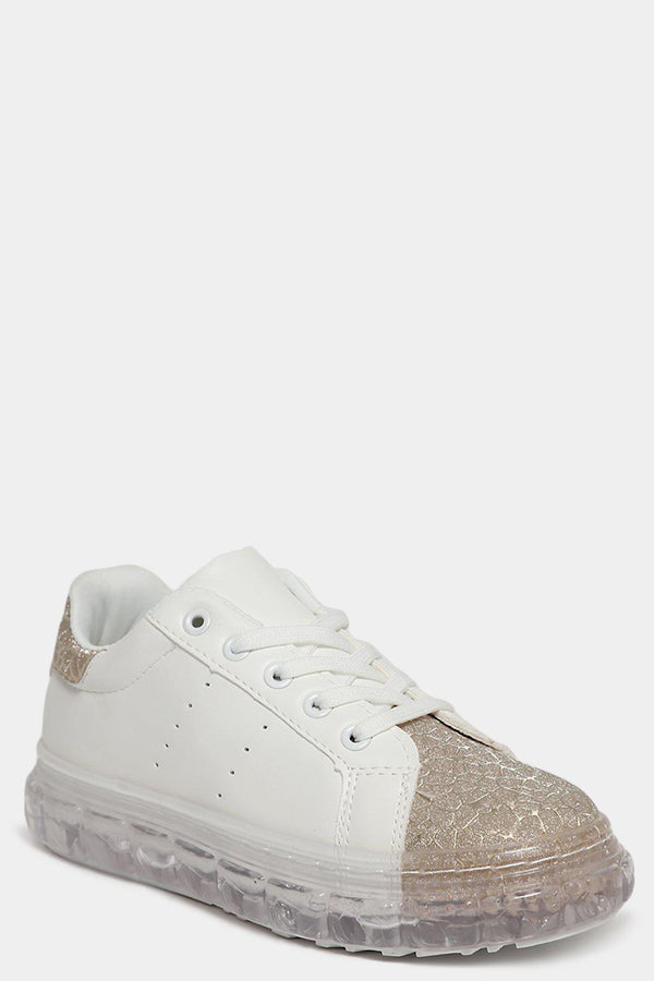 Gold Shimmer Web Effect White Transparent Sole Trainers-SinglePrice
