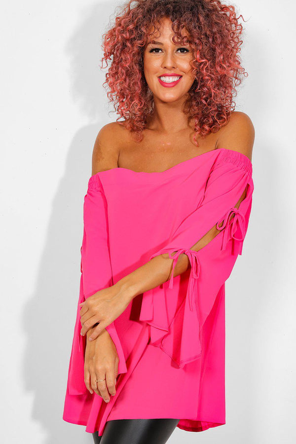 Pink Lace Up Sleeves Off The Shoulder Top - SinglePrice