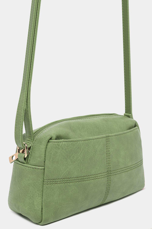 Green Seam Detail Vegan Leather Mini Shoulder Bag-SinglePrice