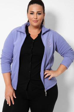 Lilac Embroidery Detail Full Zip Fleece Jacket - SinglePrice