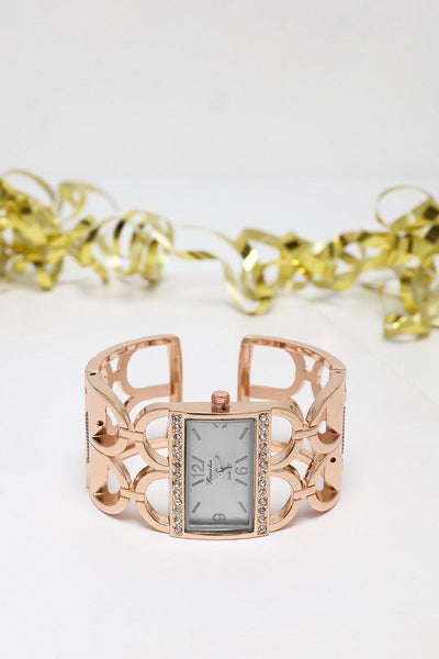 White Dial Rose Gold Cuff Watch