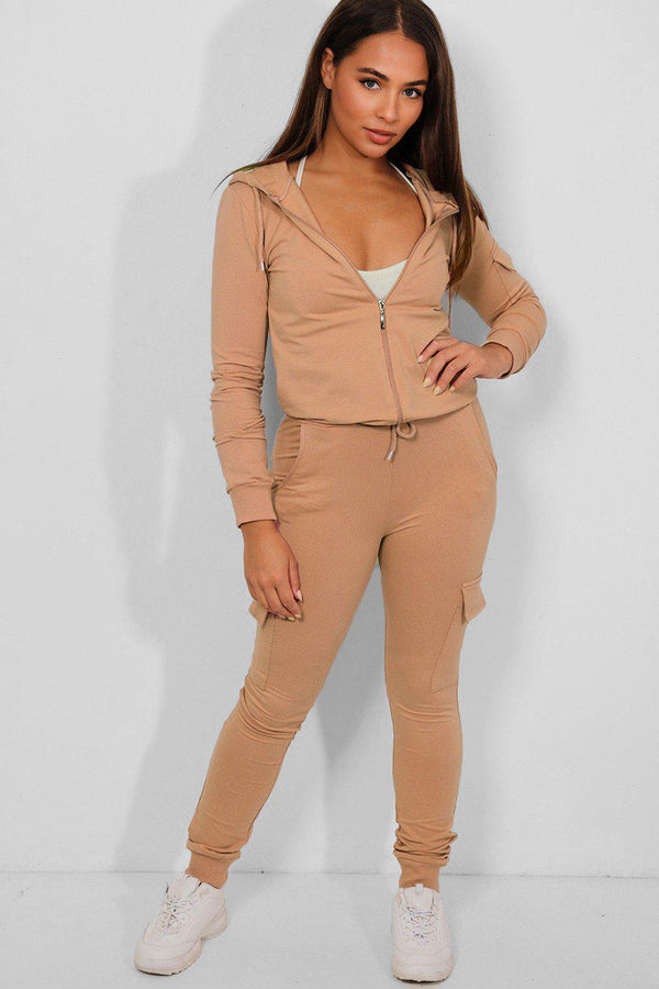 Beige Utility Pockets Hooded 2 Piece Tracksuit - SinglePrice