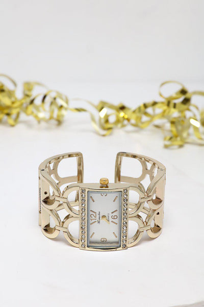 White Dial Gold Cuff Watch