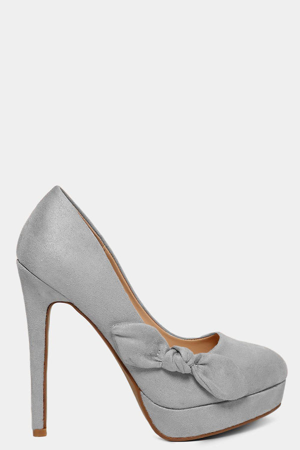 Grey Vegan Suede Bow Detail High Heels