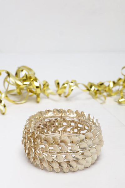Gold Dragon Scales Stretchy Cuff Bracelet-SinglePrice