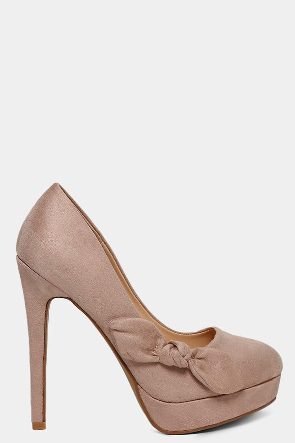 Beige Vegan Suede Bow Detail High Heels