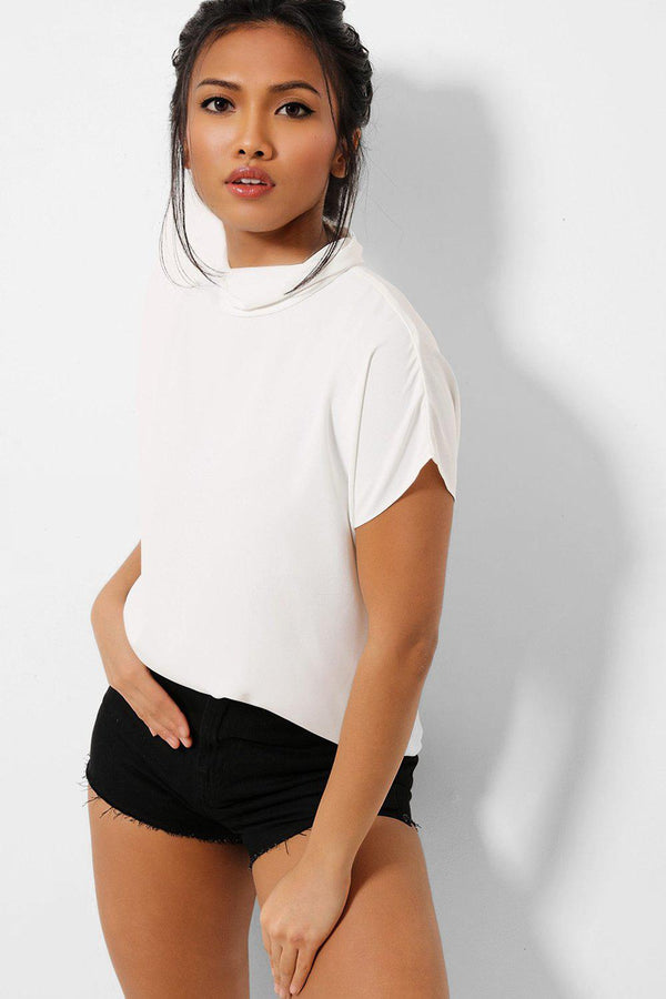 White High Neck Buttons Back Top - SinglePrice