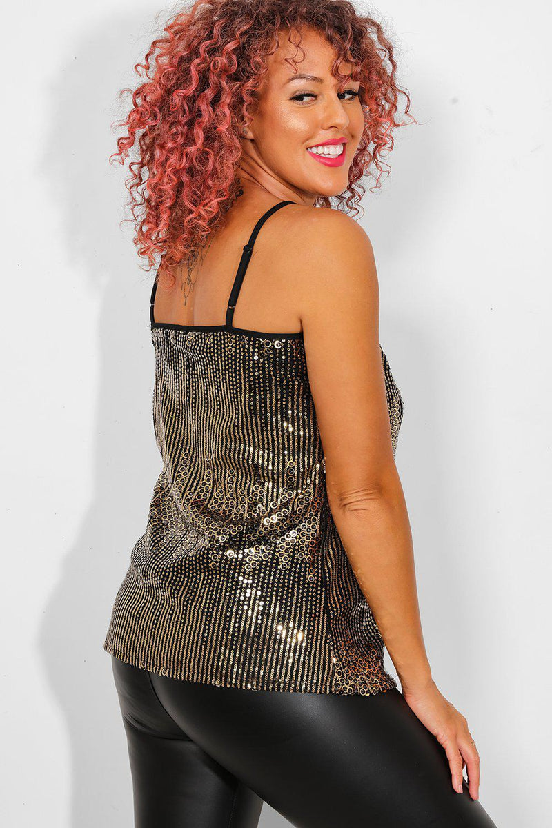 Gold Sequins Black Cami Disco Ball Top - SinglePrice
