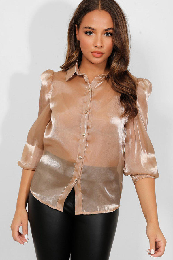 Taupe Sheer Organza Puff Shoulder Shirt Blouse - SinglePrice