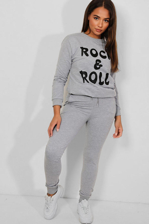 Grey White Rock & Roll Slogan Tracksuit - SinglePrice