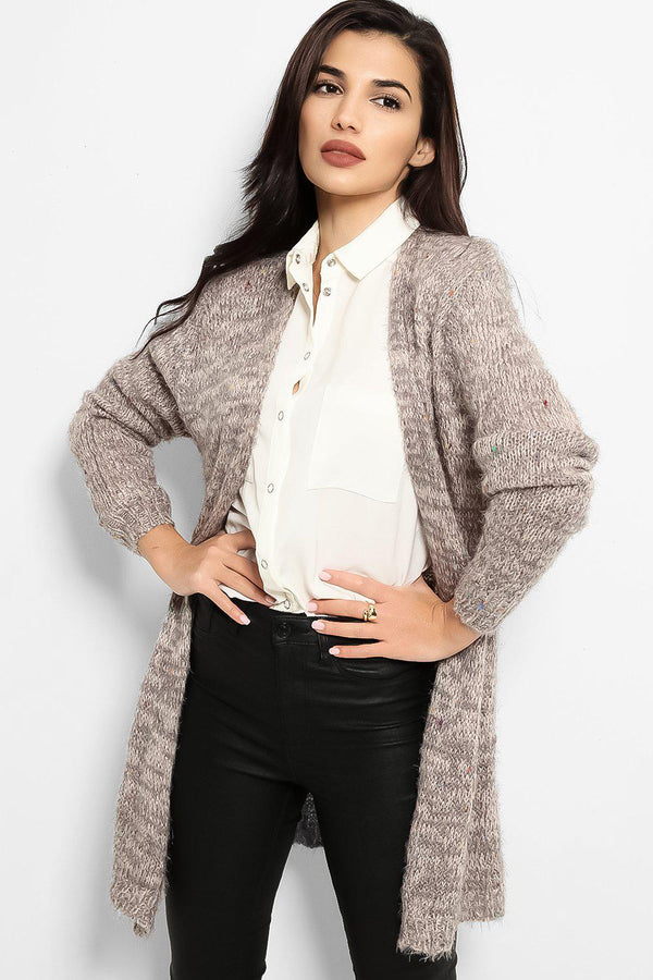 Grey Fluffy Boucle Knit Open Front Cardigan - SinglePrice