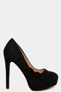 Black Vegan Suede Bow Detail High Heels - SinglePrice