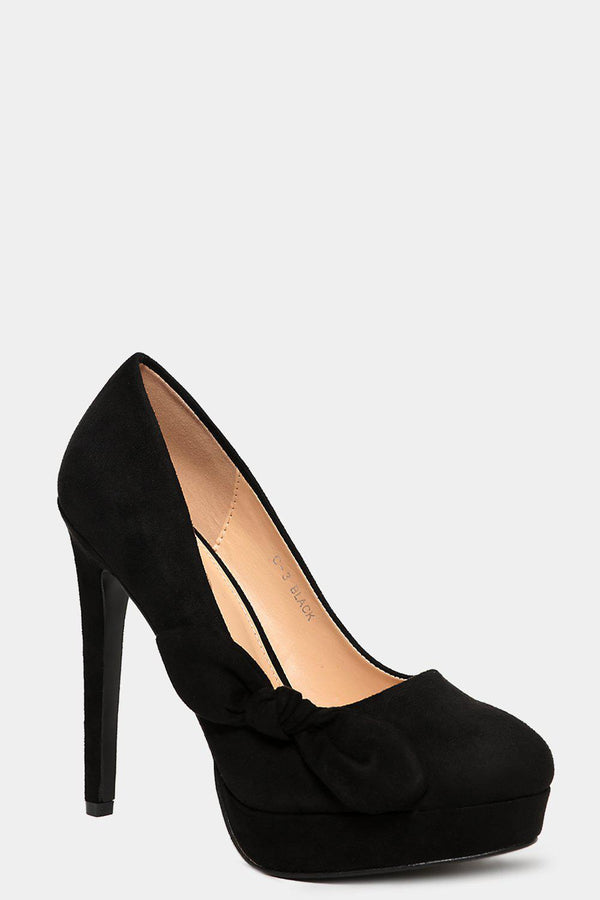 Black Vegan Suede Bow Detail High Heels