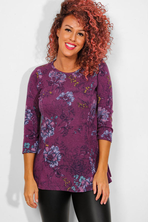 Purple Floral Print Fleece Top - SinglePrice