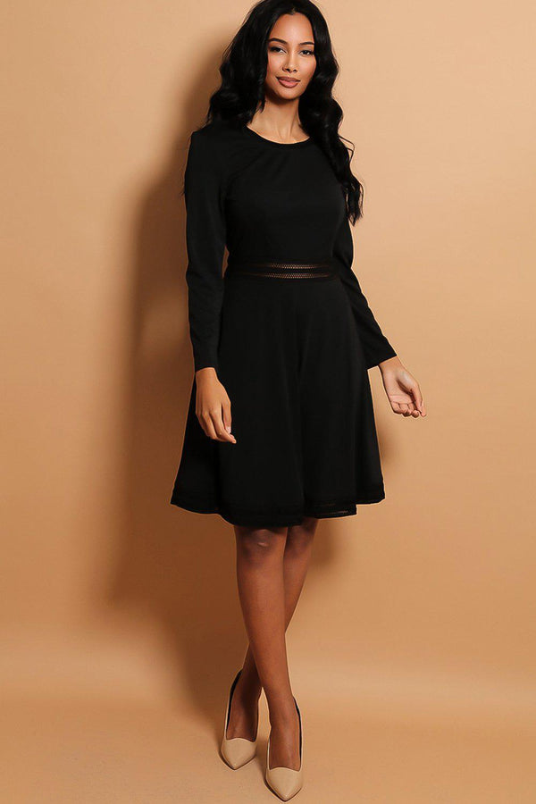 Black Perforated Crochet Panels Skater Dress