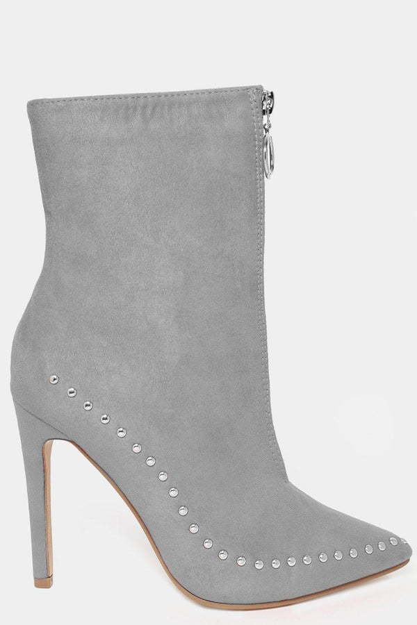 Front Zip Studded Grey Vegan Suede High Heel Ankle Boots - SinglePrice