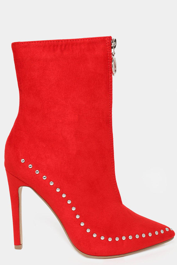Front Zip Studded Red Vegan Suede High Heel Ankle Boots-SinglePrice