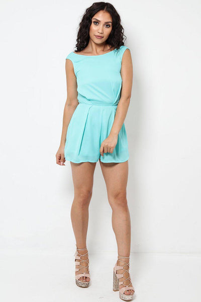 Lace Back Blue Aqua Playsuit-SinglePrice