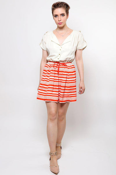 Red Stripes Skirt Shirt Dress-SinglePrice