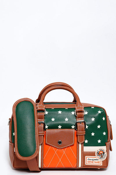 Brown Trims Green Star Print Mini Side Bag-SinglePrice