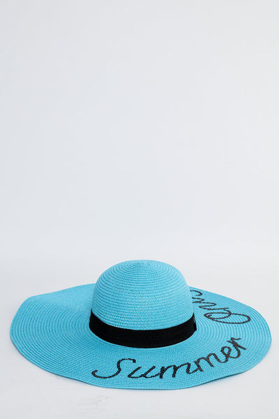Sequinned Statement Light Blue Summer Hat-SinglePrice