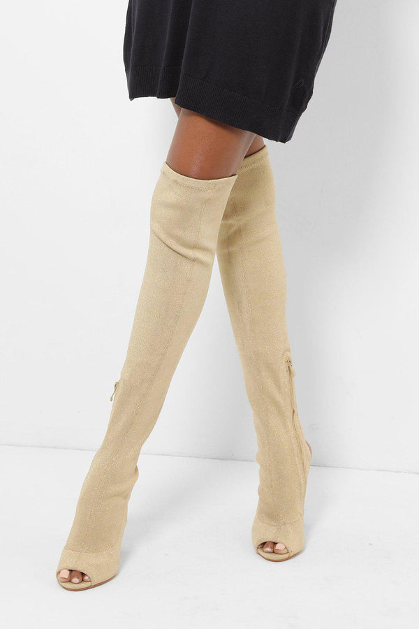 Gold Peep Toe Over The Knee Boots-SinglePrice