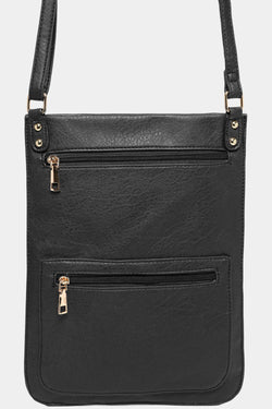 Black Multi-Pocket Tall Flat Messenger Bag - SinglePrice