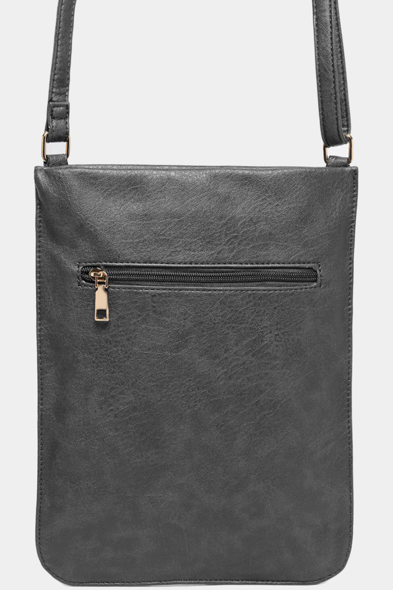 Grey Multi-Pocket Tall Flat Messenger Bag - SinglePrice