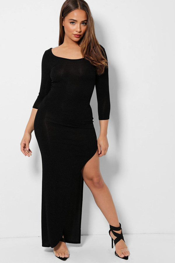 Black Shimmer High Leg Split Maxi Dress - SinglePrice