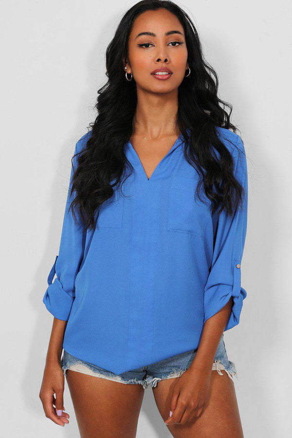 Blue Roll Up Sleeves Front Pockets V-Neck Blouse - SinglePrice