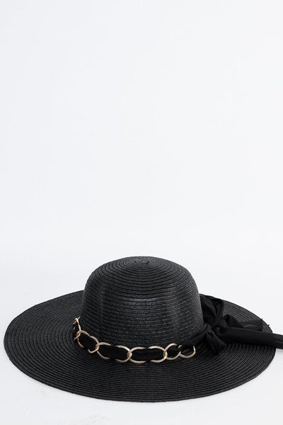 Chain And Bow Detail Black Summer Hat-SinglePrice