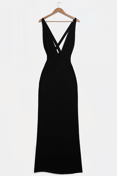 Tall V-Neck Black Jersey Maxi Dress-SinglePrice
