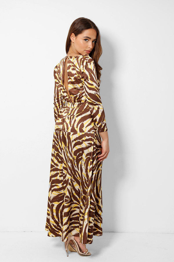 Brown Zebra Satin V-Neck Maxi Dress - SinglePrice