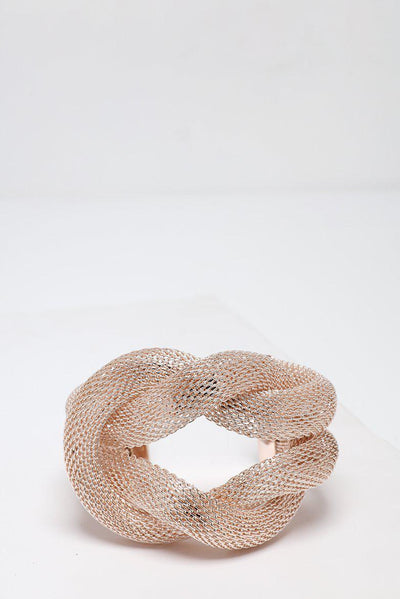 Mesh Wire Double Knot Light Rose Gold Cuff Bracelet-SinglePrice