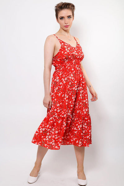 Floral Print Red Midi Dress-SinglePrice