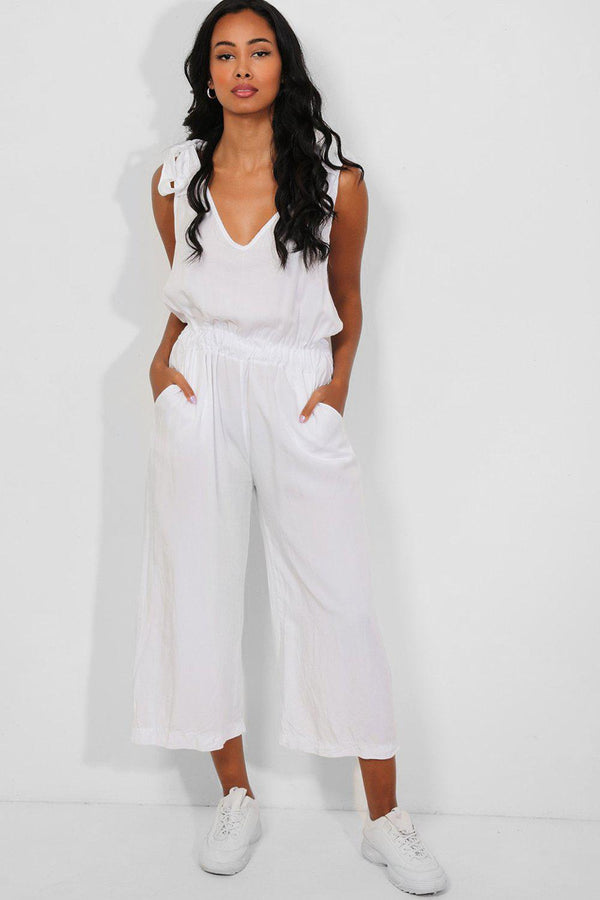White Tie Up Straps Wide Cropped Leg Jumpsuit - SinglePrice
