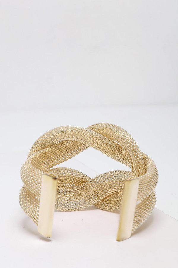 Mesh Wire Double Knot Gold Cuff Bracelet-SinglePrice
