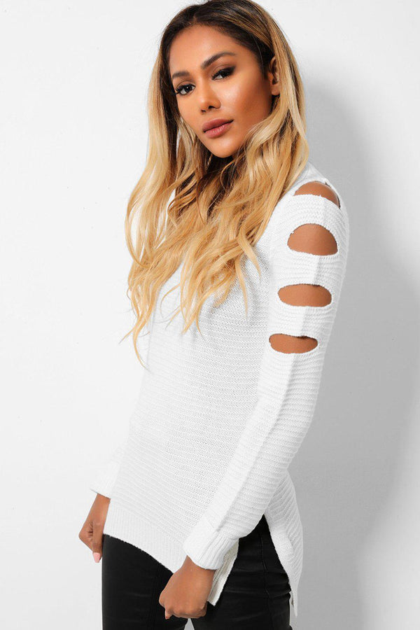 White Cut Out Sleeves Flat Knit Jumper-SinglePrice