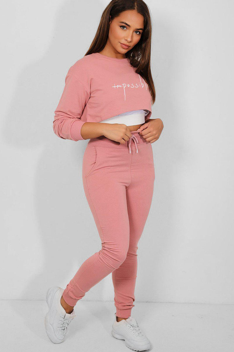 Pink 3-in-1 Crop Top Tracksuit - SinglePrice