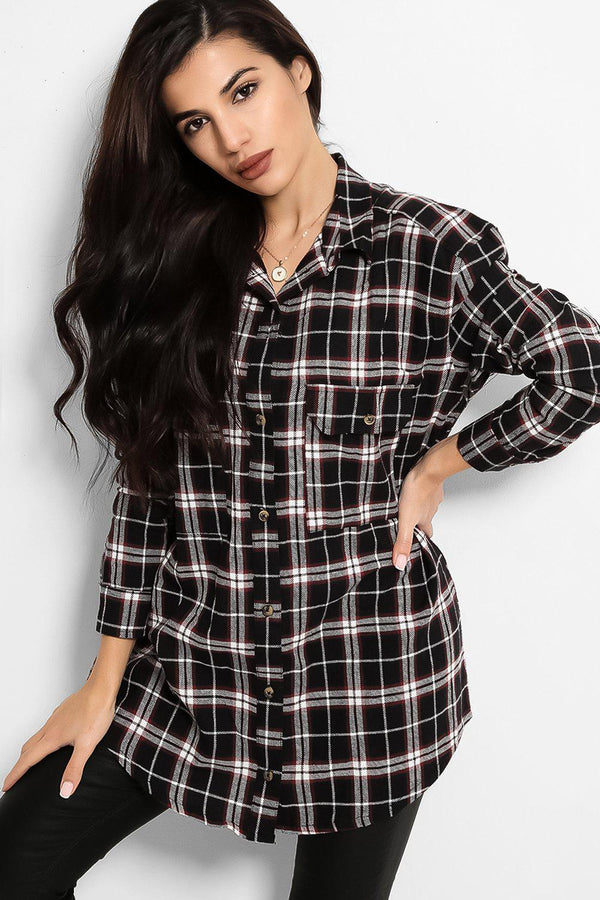 Black Checked Lazy Fit Shirt