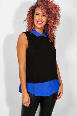 Royal Blue Collar And Hem Black Top - SinglePrice