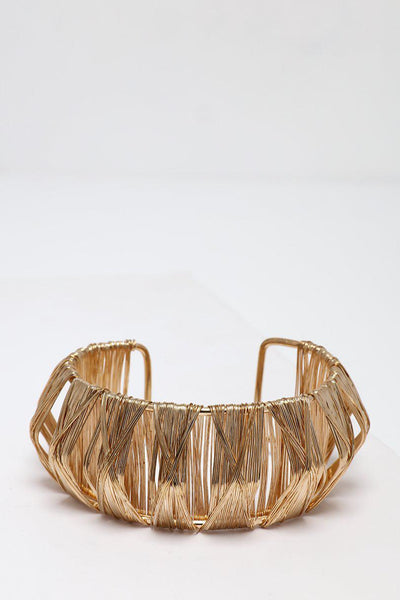 Pleated Gold Wire Cuff Bracelet-SinglePrice